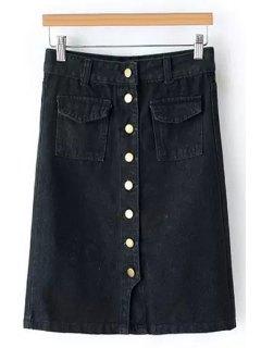 Single-Breasted Denim Midi Skirt - Black M