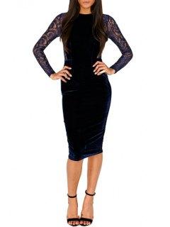 Lace Spliced See-Through Long Sleeves Work Dress - Deep Blue 2xl