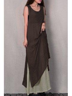 Two Piece Tank Dress - Brown Xl