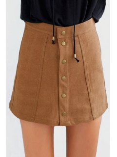Faux Suede High Waist Solid Color Skirt - Dark Khaki L