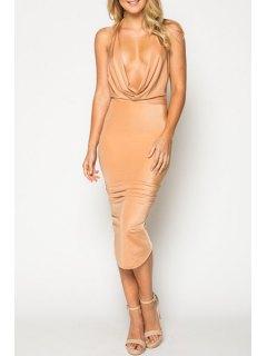 Solid Color Halterneck Bodycon Dress - Apricot Xl