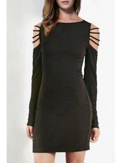 Long Sleeve Hollow Shoulder Bodycon Dress - Black M