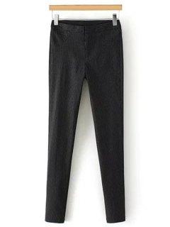 Solid Color Elastic Slimming Narrow Feet Pants - Black S