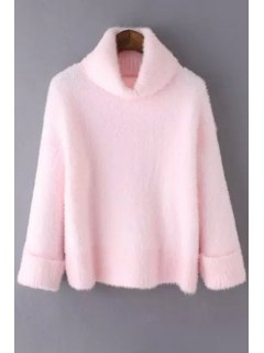 Pure Color Turtle Collar Long Sleeve Jumper - Pink