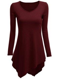 Irregular Hem V Neck Long Sleeve T-Shirt - Wine Red S