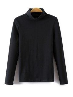 Turtle Neck Long Sleeve T-Shirt - Black M