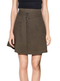Solid Color High-Wisted Belt Women's Skirt - Dun 2xl
