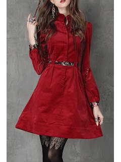 Stand Neck Red Corduroy Dress With Belt - Red S