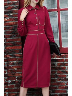 Pocket Waisted Elegant Flat Collar Long Sleeves Dress - Wine Red S