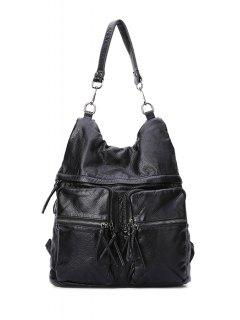 Black Zipper Embossing Shoulder Bag - Black