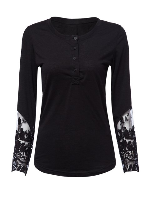 fancy Long Sleeve Lace Spliced Openwork T-Shirt - BLACK M Mobile