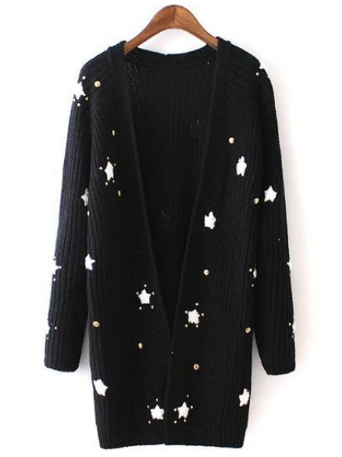 latest Long Sleeve Star Pattern Long Cardigan - BLACK ONE SIZE(FIT SIZE XS TO M) Mobile