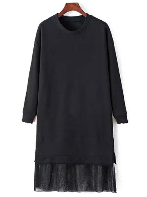 best Mesh Spliced Long Sleeve Dress - BLACK M Mobile