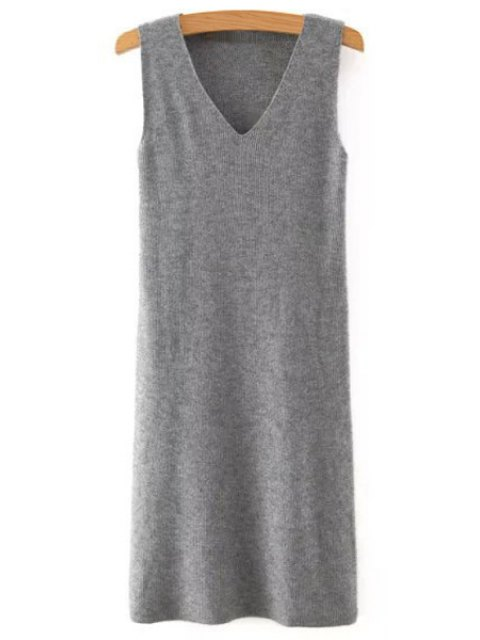 shop Solid Color V Neck Sleeveless Sweater Dress - GRAY M Mobile