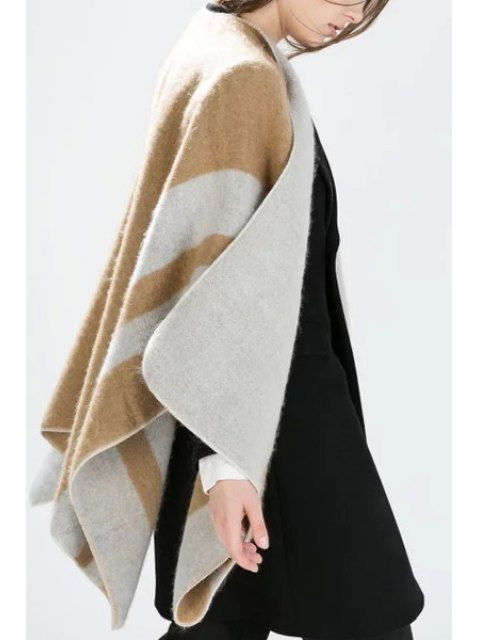 outfit Letter Pattern Cape Cardigan - KHAKI ONE SIZE(FIT SIZE XS TO M) Mobile