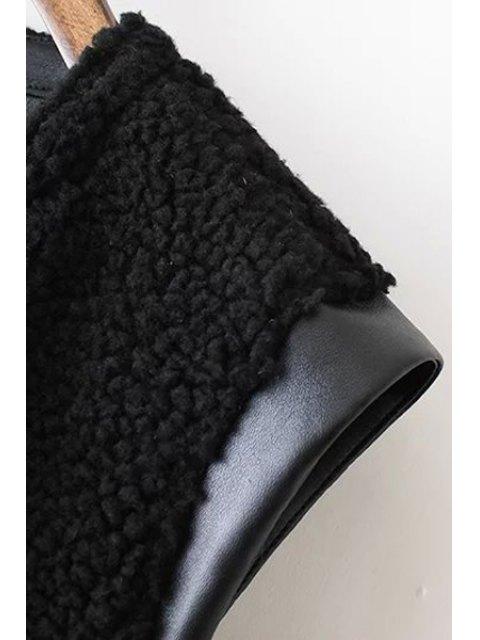 new PU Leather Round Collar Black Zipper Waistcoat - BLACK M Mobile