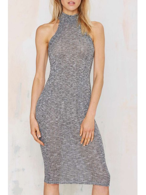 best Pure Color Stand Neck Sleeveless Sweater Dress - GRAY S Mobile