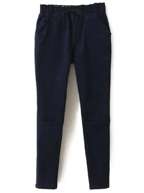 outfit Solid Color Corduroy Women's Harem Pants - CADETBLUE M Mobile