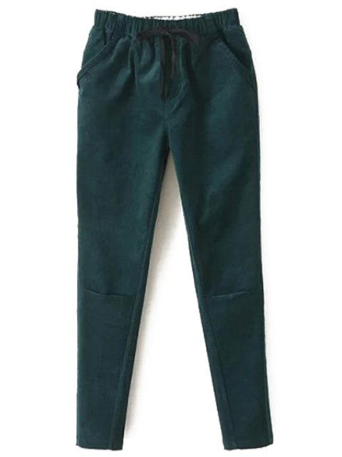shops Solid Color Corduroy Women's Harem Pants - GREEN S Mobile