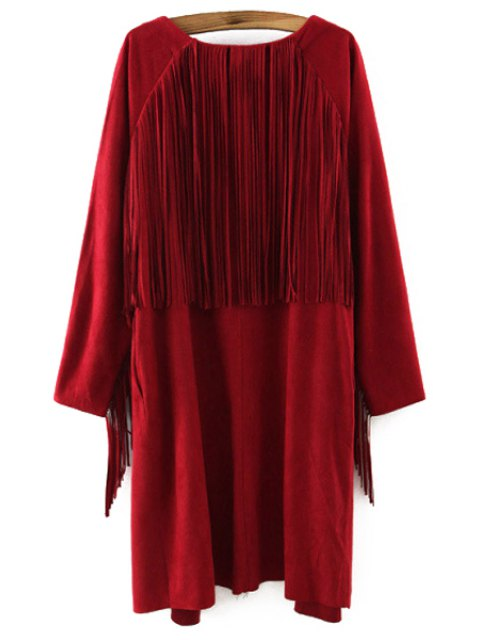 unique Solid Color Collarless Long Sleeves Faux Suede Cardigan - WINE RED S Mobile