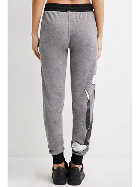 unique Cartoon Cat Pattern Narrow Feet Pants - GRAY S Mobile