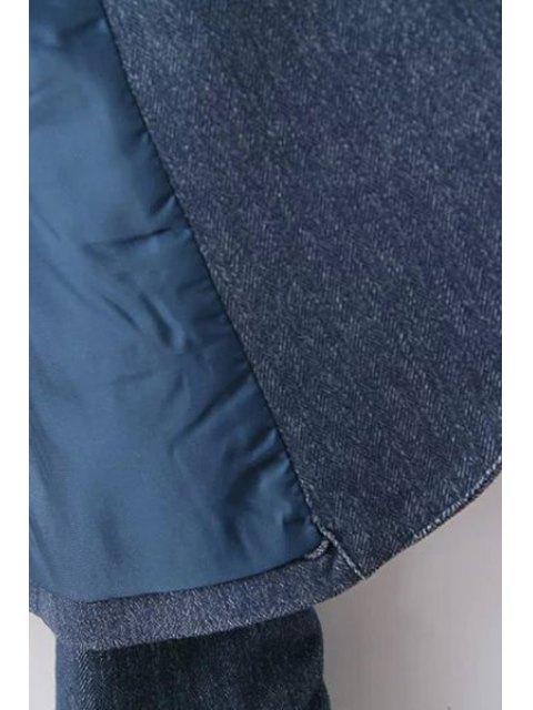 trendy Blue Denim Lapel Long Sleeve Blazer - BLUE S Mobile