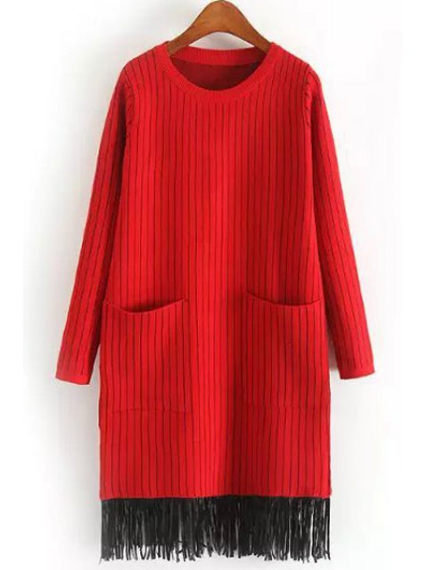 shop Two Pockets Tassels Sweater Dress - RED ONE SIZE(FIT SIZE XS TO M) Mobile