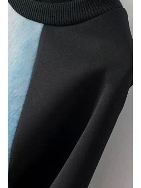 trendy Figure Print Jewel Neck Long Sleeve Dress - BLACK L Mobile