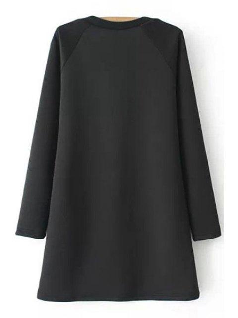 shops Figure Print Jewel Neck Long Sleeve Dress - BLACK S Mobile