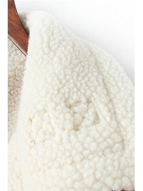 chic Faux Suede Printed Lapel Collar Short Coat - COLORMIX L Mobile