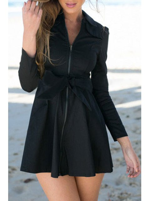 hot Bowknot Turn Down Collar Long Sleeve Trench Coat - BLACK M Mobile