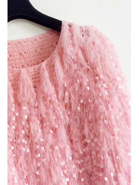ladies Solid Color Mohair Fringes Long Sleeves Loose-Fitting Jumper - ROSE ONE SIZE(FIT SIZE XS TO M) Mobile