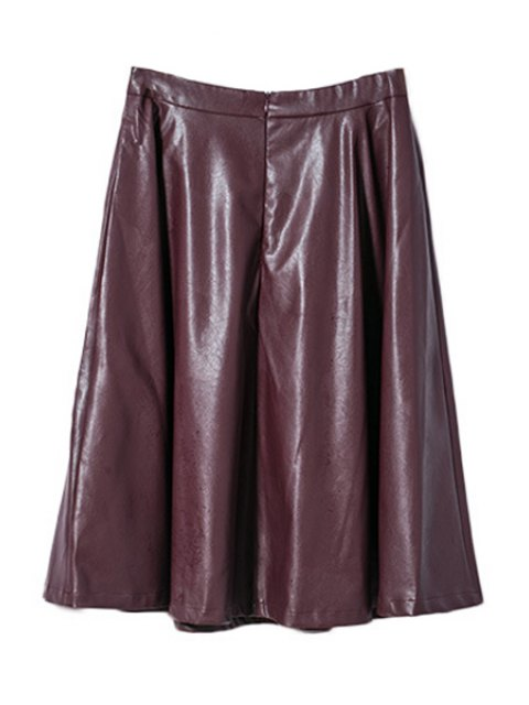 shops Wine Red PU Leather High Waisted Skirt - WINE RED M Mobile