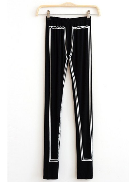 latest Elastic Waist Hit Color Skinny Leggings - BLACK ONE SIZE(FIT SIZE XS TO M) Mobile