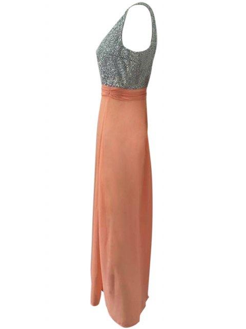 affordable Plunging Neck Hollow Back Glitter Dress - ORANGE S Mobile