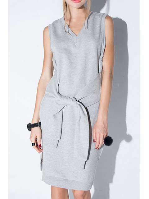 womens Solid Color V-Neck Sleeveless Side Slit Dress - GRAY 2XL Mobile