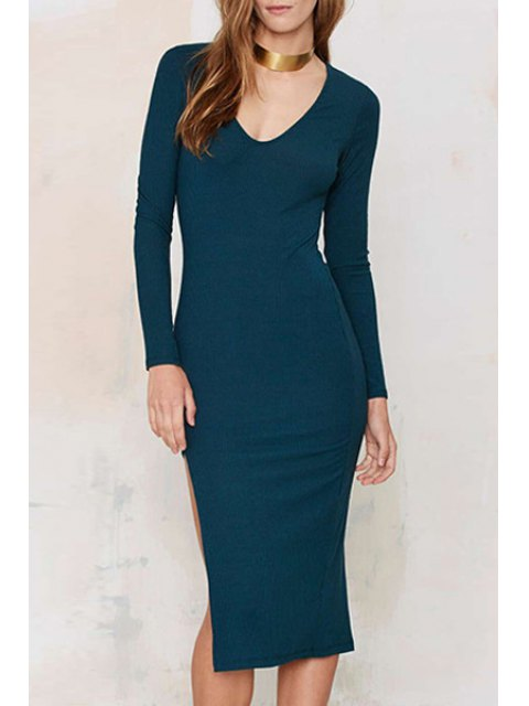 hot Long Sleeve Side Slit Blue Dress - BLUE M Mobile