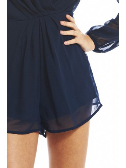 shops Plunging Neck See-Through Chiffon Playsuit - DEEP BLUE S Mobile