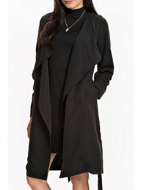 women Pocket Design Self-Tie Belt Trench Coat - BLACK S Mobile