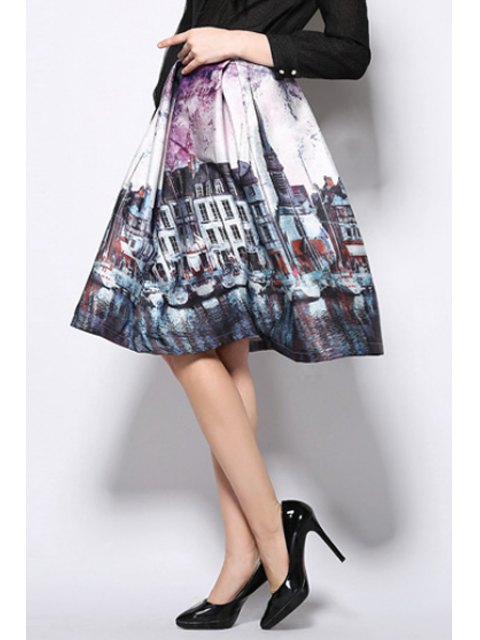 hot A-Line Scenery Print Midi Skirt - PURPLE XL Mobile