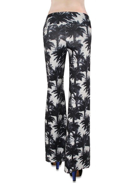 chic Tropical Print Flare Yoga Pants - WHITE AND BLACK L Mobile