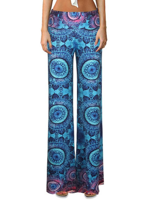 outfits Circle Print Flare Palazzo Pants - COLORMIX XL Mobile