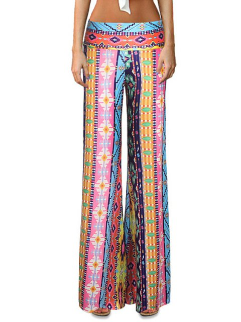 fashion Elastic Waist Printed Flare Leg Pants - COLORMIX L Mobile