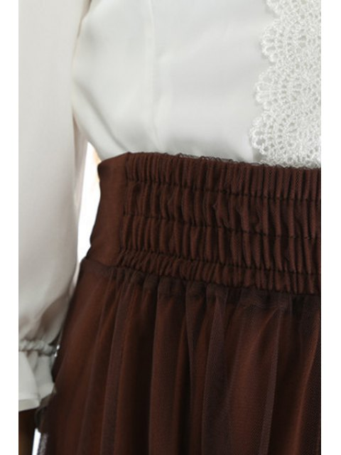 shops Mesh High Waisted A Line Skirt - COFFEE ONE SIZE(FIT SIZE XS TO M) Mobile