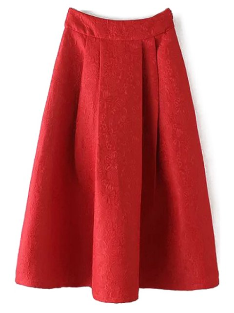 shop Ball Gown High Waisted Jacquard Solid Color Skirt - RED L Mobile