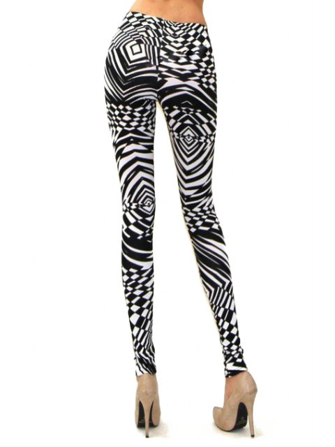 outfits Abstract Print Skinny High Elasticity Pants - WHITE AND BLACK M Mobile