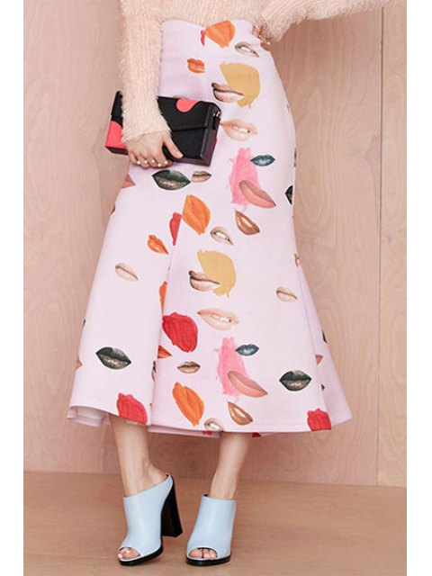 sale Lip Print A-Line Long Skirt - PINK XS Mobile