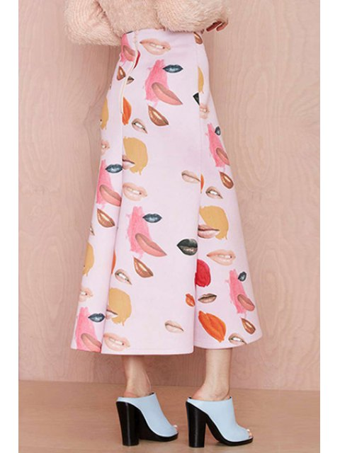 womens Lip Print A-Line Long Skirt - PINK L Mobile