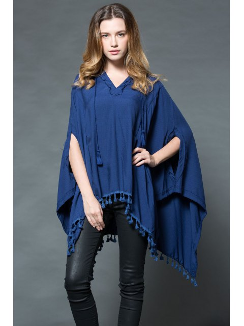 hot Hooded The Endless Poncho - DEEP BLUE M Mobile
