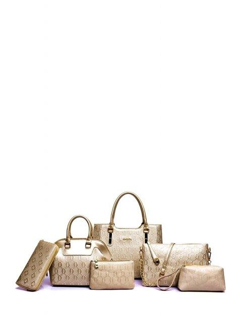 women Embossing Solid Color Letter Tote Bag - GOLDEN  Mobile